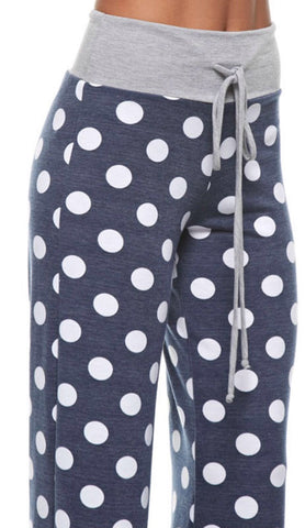 Casual Polka Dot Pants - Navy - Blue Chic Boutique  - 3