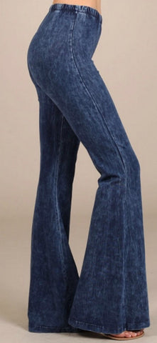 Elastic Waist Mineral Dyed Pants - Blue Chic Boutique  - 1