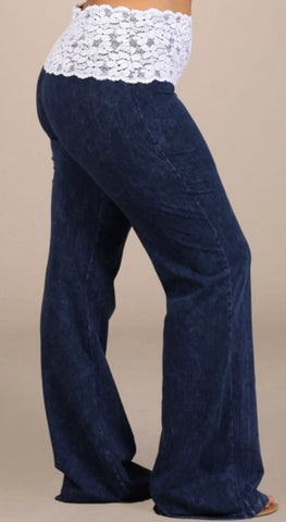 Elastic Waist Pants with Lace - Plus - Blue Chic Boutique  - 1