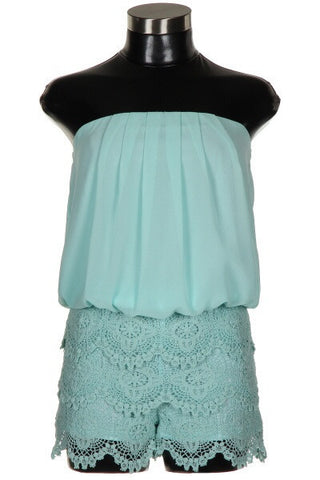 Lace and Chiffon Romper - Mint - Blue Chic Boutique  - 1
