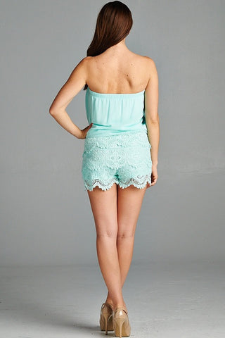 Lace and Chiffon Romper - Mint - Blue Chic Boutique  - 4