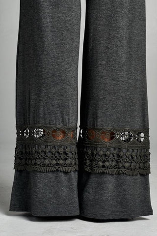 Pants with Decorative Bottoms - Gray - Blue Chic Boutique  - 2