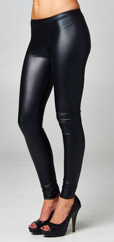 High Waisted Pleather Leggings - Black - Blue Chic Boutique  - 6