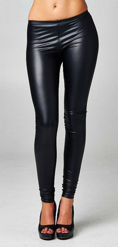 High Waisted Pleather Leggings - Black - Blue Chic Boutique  - 2