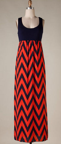 A Step in the Right Direction Chevron Maxi Dress - Orange and Navy - Blue Chic Boutique  - 3