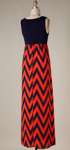 A Step in the Right Direction Chevron Maxi Dress - Orange and Navy - Blue Chic Boutique  - 4