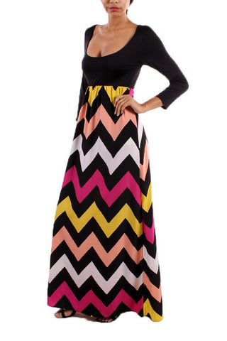 Autumn Leaves 3/4 Sleeve Chevron Maxi Dress - Blue Chic Boutique  - 10