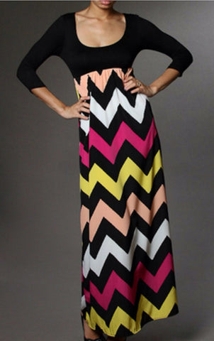 Autumn Leaves 3/4 Sleeve Chevron Maxi Dress - Blue Chic Boutique  - 1