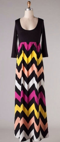 Autumn Leaves 3/4 Sleeve Chevron Maxi Dress - Blue Chic Boutique  - 2