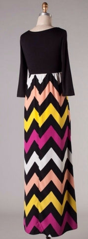 Autumn Leaves 3/4 Sleeve Chevron Maxi Dress - Blue Chic Boutique  - 3