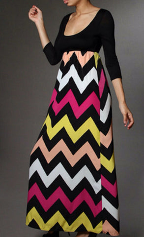 Autumn Leaves 3/4 Sleeve Chevron Maxi Dress - Blue Chic Boutique  - 4