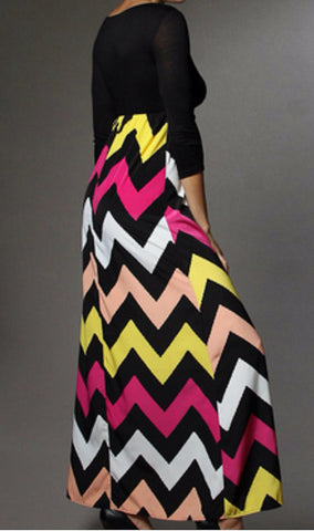 Autumn Leaves 3/4 Sleeve Chevron Maxi Dress - Blue Chic Boutique  - 5