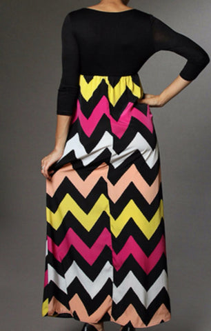 Autumn Leaves 3/4 Sleeve Chevron Maxi Dress - Blue Chic Boutique  - 6