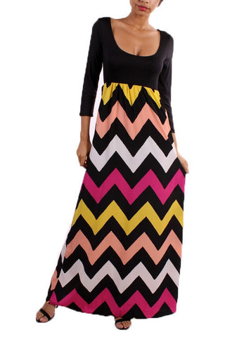 Autumn Leaves 3/4 Sleeve Chevron Maxi Dress - Blue Chic Boutique  - 7