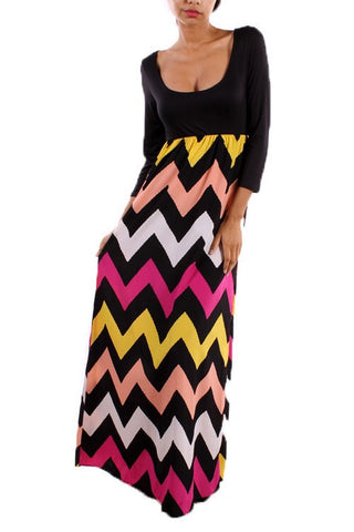Autumn Leaves 3/4 Sleeve Chevron Maxi Dress - Blue Chic Boutique  - 8