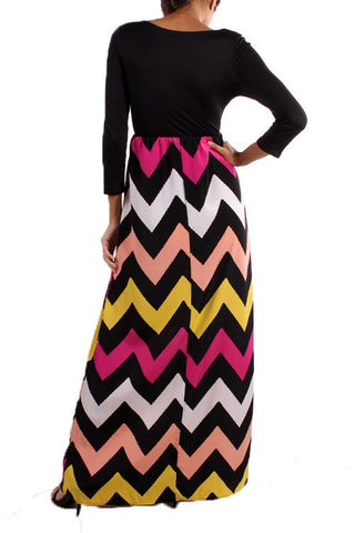 Autumn Leaves 3/4 Sleeve Chevron Maxi Dress - Blue Chic Boutique  - 9