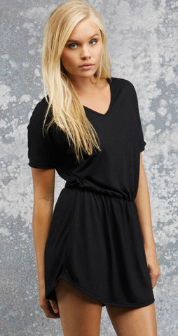 Bella V-Neck Dress - Black - Blue Chic Boutique