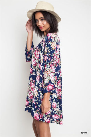 Boho Floral Dress - Navy - Blue Chic Boutique  - 1