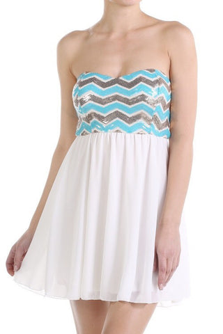 Chevron Sequins Dress - White - Blue Chic Boutique  - 1