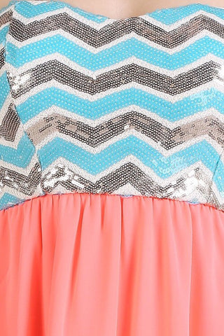 Chevron Sequins Dress - White - Blue Chic Boutique  - 4
