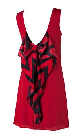 Chevron Sleeveless Bow Back Dress - Red - Blue Chic Boutique  - 6