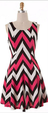 Chevron Sleeveless Dress - Pink - Blue Chic Boutique  - 6