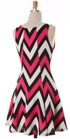 Chevron Sleeveless Dress - Pink - Blue Chic Boutique  - 8