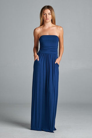 Simple and Stylish Maxi Dress - Navy - Blue Chic Boutique  - 1