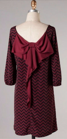 Maroon and Black Chevron Bow Back Tunic Dress - Blue Chic Boutique  - 5