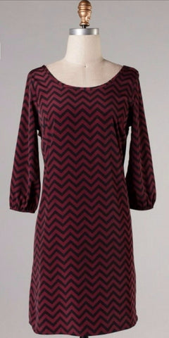 Maroon and Black Chevron Bow Back Tunic Dress - Blue Chic Boutique  - 7