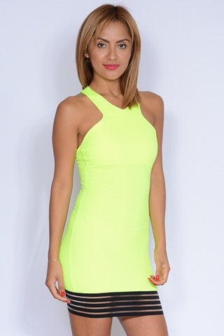 Neon Nights Dress - Yellow - Blue Chic Boutique  - 1
