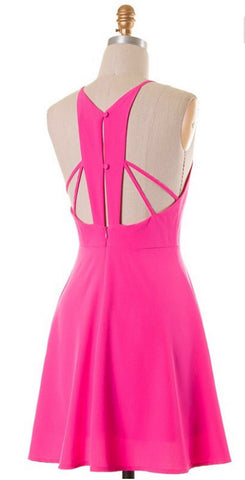 Neon Pink Party Dress - Blue Chic Boutique  - 1