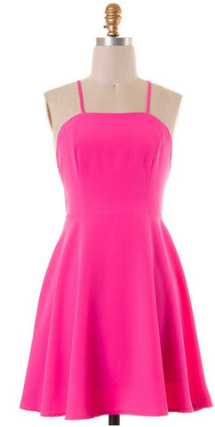 Neon Pink Party Dress - Blue Chic Boutique  - 2