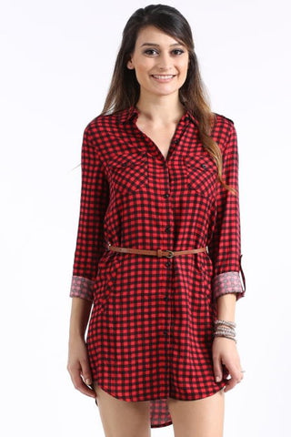 Plaid Tunic with Belt - Red and Black - Blue Chic Boutique  - 1
