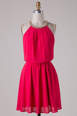 Red Dress with Rhinestone Detail - Blue Chic Boutique  - 8