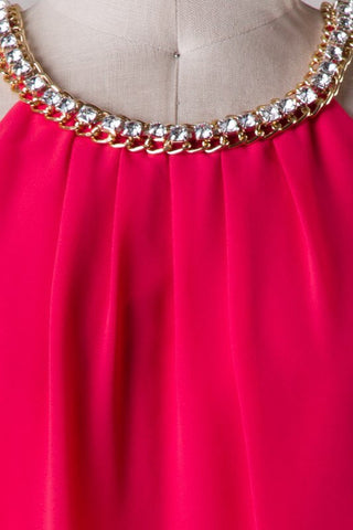 Red Dress with Rhinestone Detail - Blue Chic Boutique  - 7