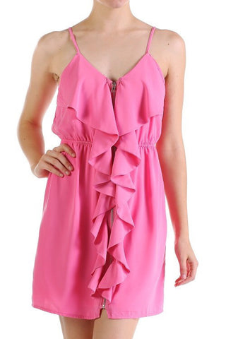 Ruffle Dress - Pink - Blue Chic Boutique  - 1