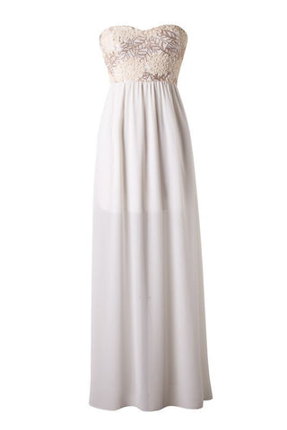 Subtle Sparkle Maxi Dress - Ivory - Blue Chic Boutique  - 1
