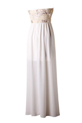 Subtle Sparkle Maxi Dress - Ivory - Blue Chic Boutique  - 3