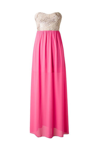 Subtle Sparkle Maxi Dress - Neon Pink - Blue Chic Boutique  - 1