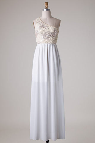 Subtle Sparkle One Shoulder Maxi Dress - Ivory - Blue Chic Boutique  - 1