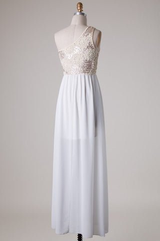 Subtle Sparkle One Shoulder Maxi Dress - Ivory - Blue Chic Boutique  - 3