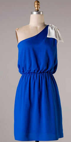 Top it off with a Bow One Shouldered Dress - Royal Blue and Ivory - Blue Chic Boutique  - 3