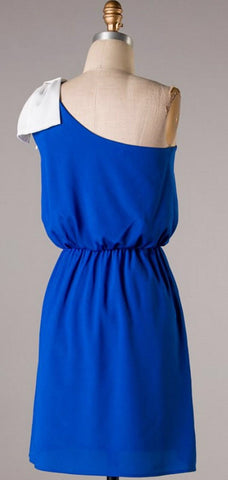 Top it off with a Bow One Shouldered Dress - Royal Blue and Ivory - Blue Chic Boutique  - 4