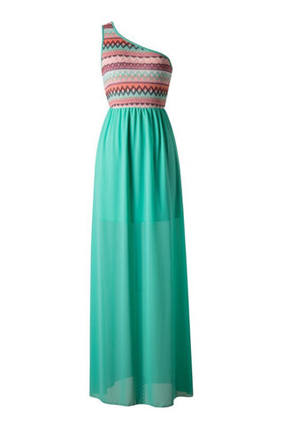 Zig Zag One Shouldered Maxi Dress - Green - Blue Chic Boutique  - 1