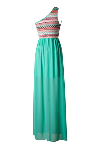 Zig Zag One Shouldered Maxi Dress - Green - Blue Chic Boutique  - 3