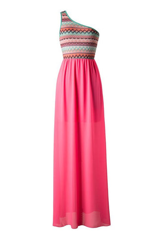 Zig Zag One Shouldered Maxi Dress - Pink - Blue Chic Boutique  - 1