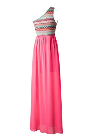 Zig Zag One Shouldered Maxi Dress - Pink - Blue Chic Boutique  - 2
