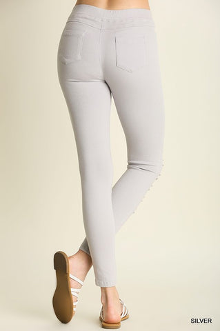 Distressed Leggings - Silver - Blue Chic Boutique  - 2