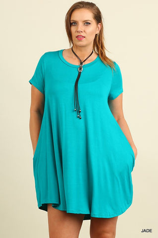 Solid Trapeze Plus Dress - Jade - Blue Chic Boutique  - 2